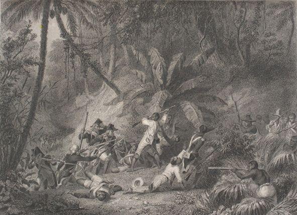 """""""St. Domingue: Prise De La Ravine Aux Couleuvres."""" (Saint Domingue: Capture of Ravine-à-Couleuvres) Depiction of the Battle o"""