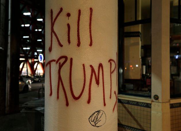 Protesters sprayed 'Kill Trump' around the Berkeley