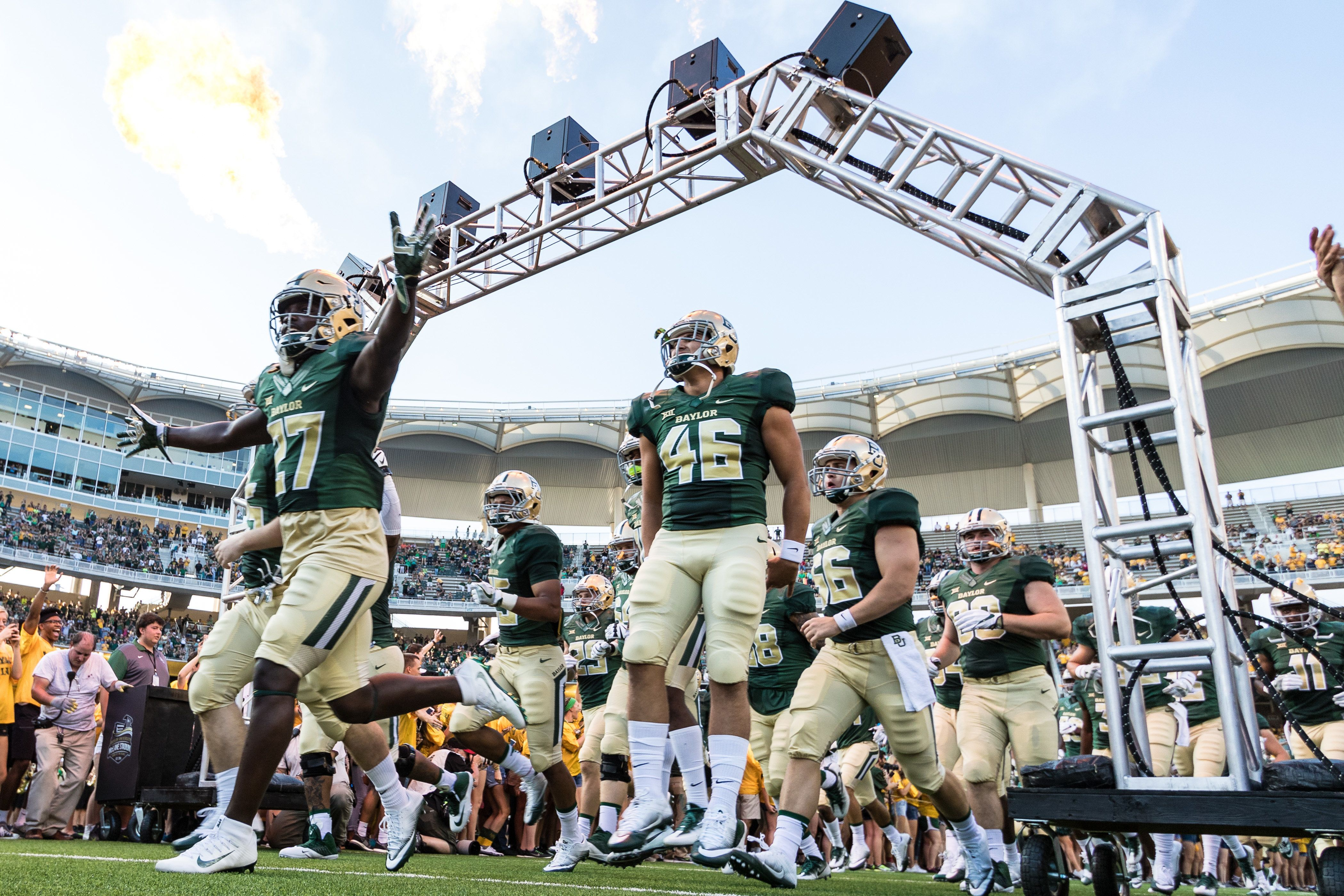 02 SEP 2016: The Baylor Bears players run onto the field before the game between the Baylor Bears and Northwestern State Demons at McLane Stadium in Waco, TX. Baylor beat Northwestern State 55-7. (Photo by Matthew Pearce/Icon Sportswire via Getty Images)
