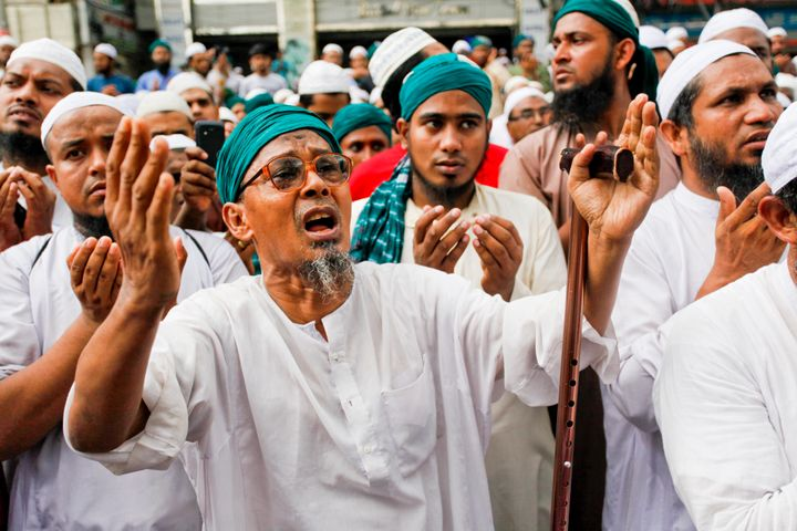 Members of the Bangladesh Caliphate Movement at a rally to protest the country's secular education syllabus. Dhaka, May 6, 20