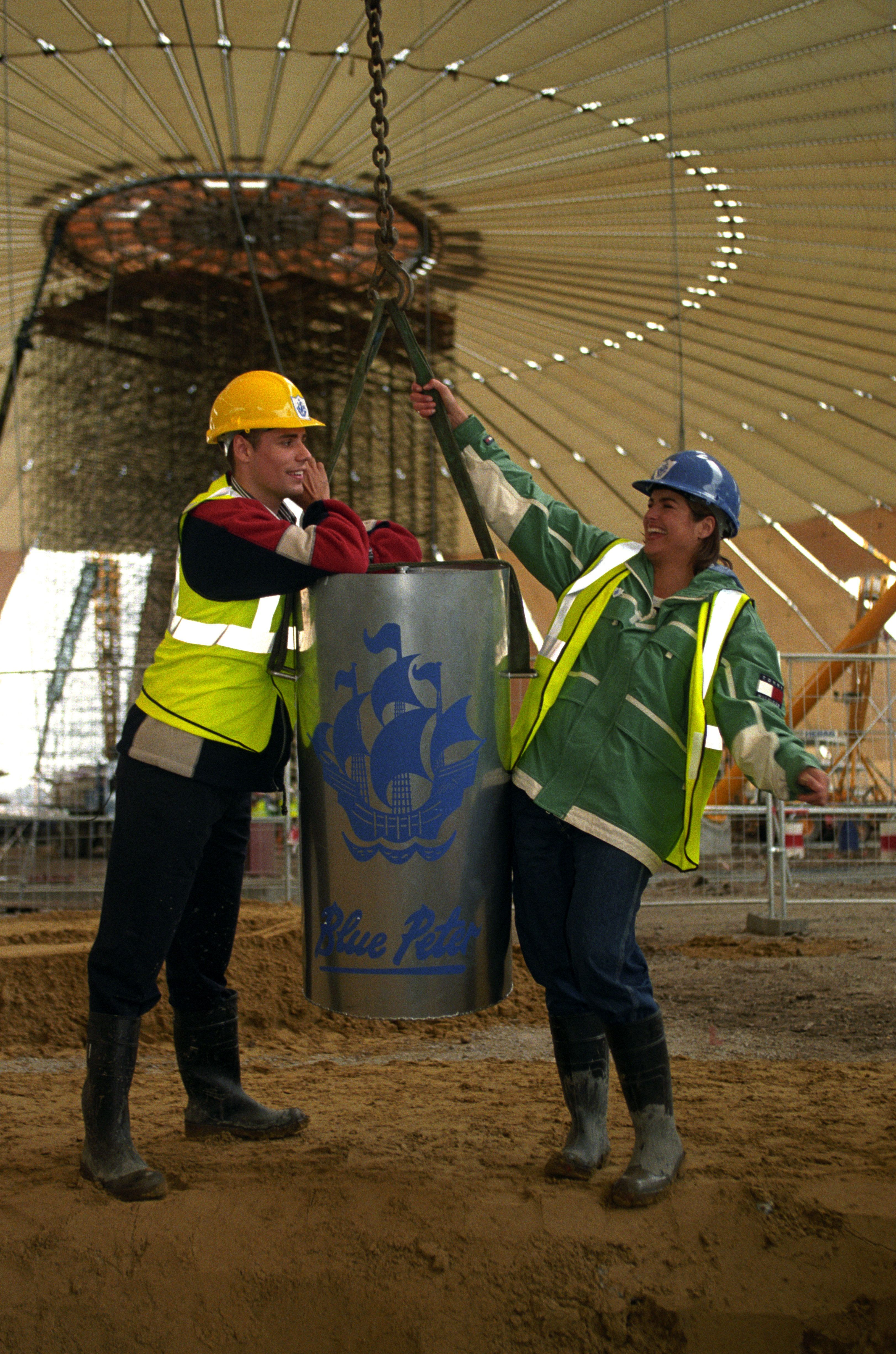 Blue Peter presenters Richard Bacon and Katy Hill with the time capsule in