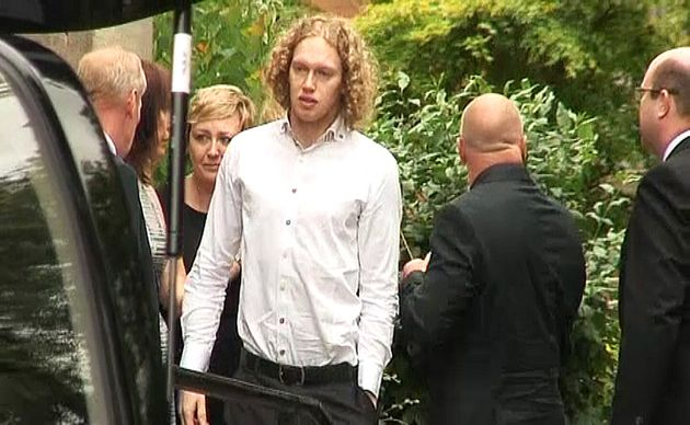 Liam Moore at his fiancee's funeral at All Saints Parish Church in