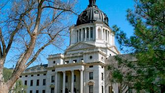 State capitol building in downtown Pierre in central South Dakota, The state capital city of South Dakota is Pierre in the center of the state on the shores of the Missouri River with the capitol building located downtown in this small city of about 14,000 people. (Photo by: Education Images/UIG via Getty Images)
