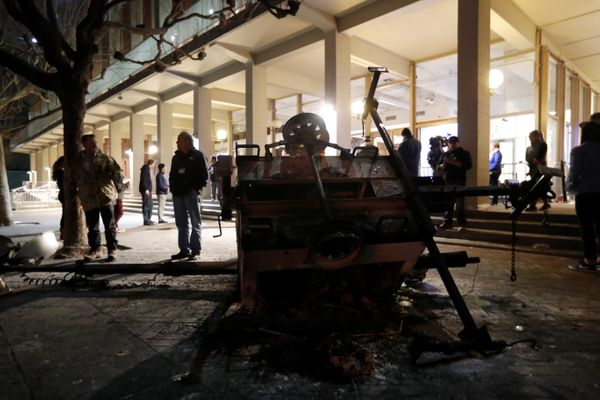A burned out portable light system is seen at UC Berkeley.