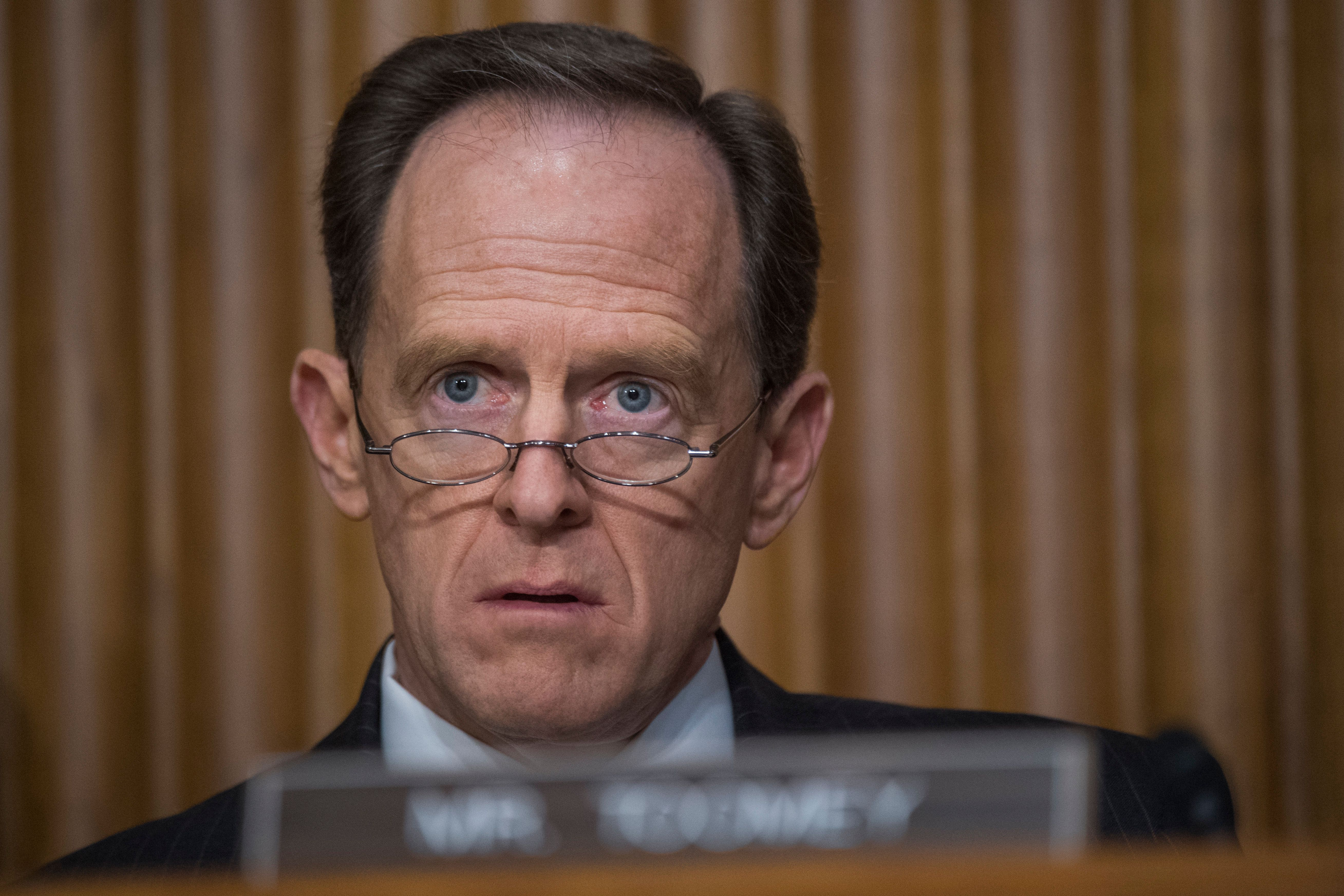 UNITED STATES - JANUARY 19: Sen. Pat Toomey, R-Pa., attends the Senate Finance Committee confirmation hearing for Steven Mnuchin, President-elect Trump's nominee for Treasury secretary, in Dirksen Building, January 19, 2017. (Photo By Tom Williams/CQ Roll Call)