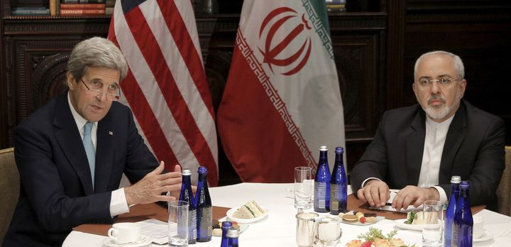 U.S. Secretary of State John Kerry meets with Iran's Foreign Minister Mohammad Javad Zarif in New York, April 22, 2016.
