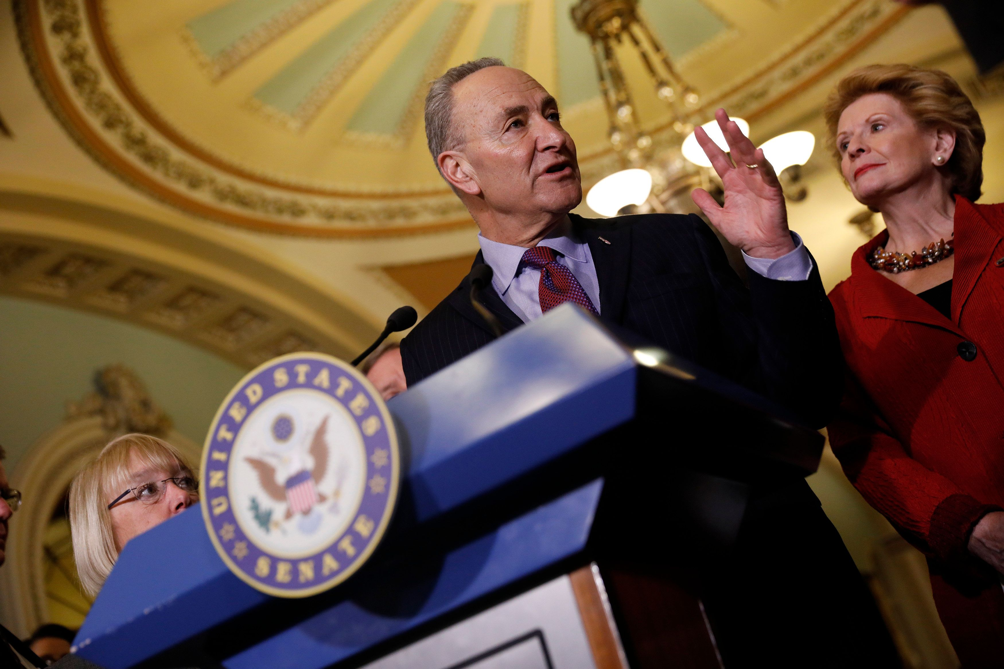 WASHINGTON, DC - JANUARY 31: Senate Minority Leader Chuck Schumer (D-NY) speaks with the media at the US Capitol January 31, 2017 in Washington, DC. Schumer addressed President Trump's travel ban. (Photo by Aaron P. Bernstein/Getty Images)