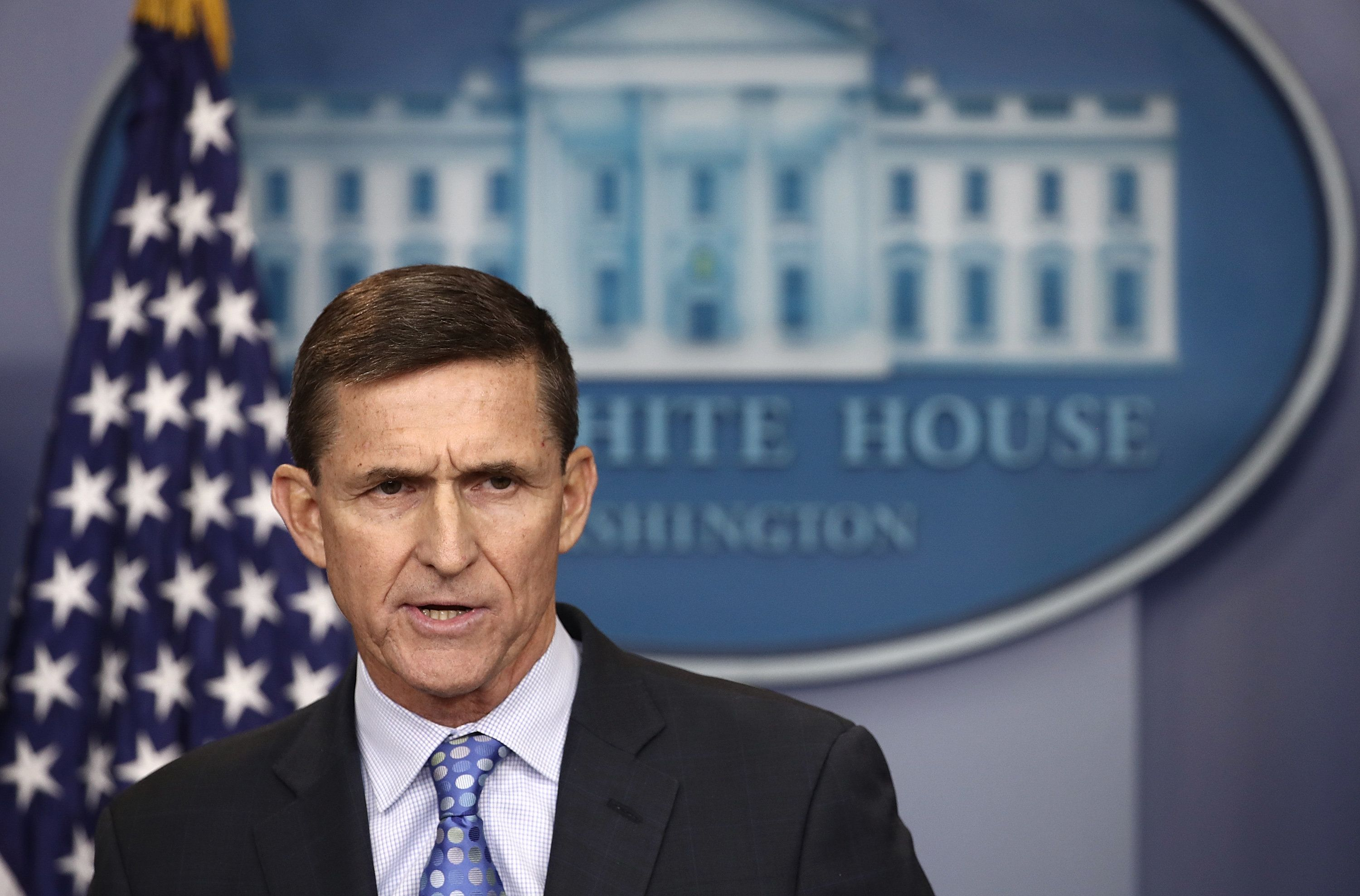 WASHINGTON, DC - FEBRUARY 01:  National Security Adviser Michael Flynn answers questions in the briefing room of the White House February 1, 2017 in Washington, DC. Flynn said the White House is 'officially putting Iran on notice' for a recent missile test and support for Houthi rebels in Yemen.  (Photo by Win McNamee/Getty Images)