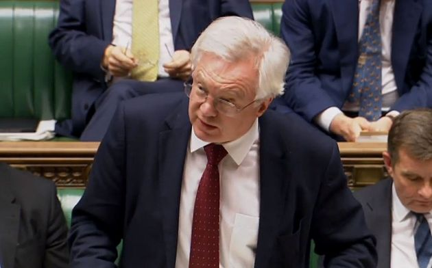 Brexit Secretary David Davis speaks in the House of Commons as the White Paper was