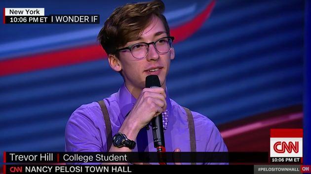 New York University sophomore Trevor Hill, 20, asked House Minority Leader Nancy Pelosi (D-Calif.) a...