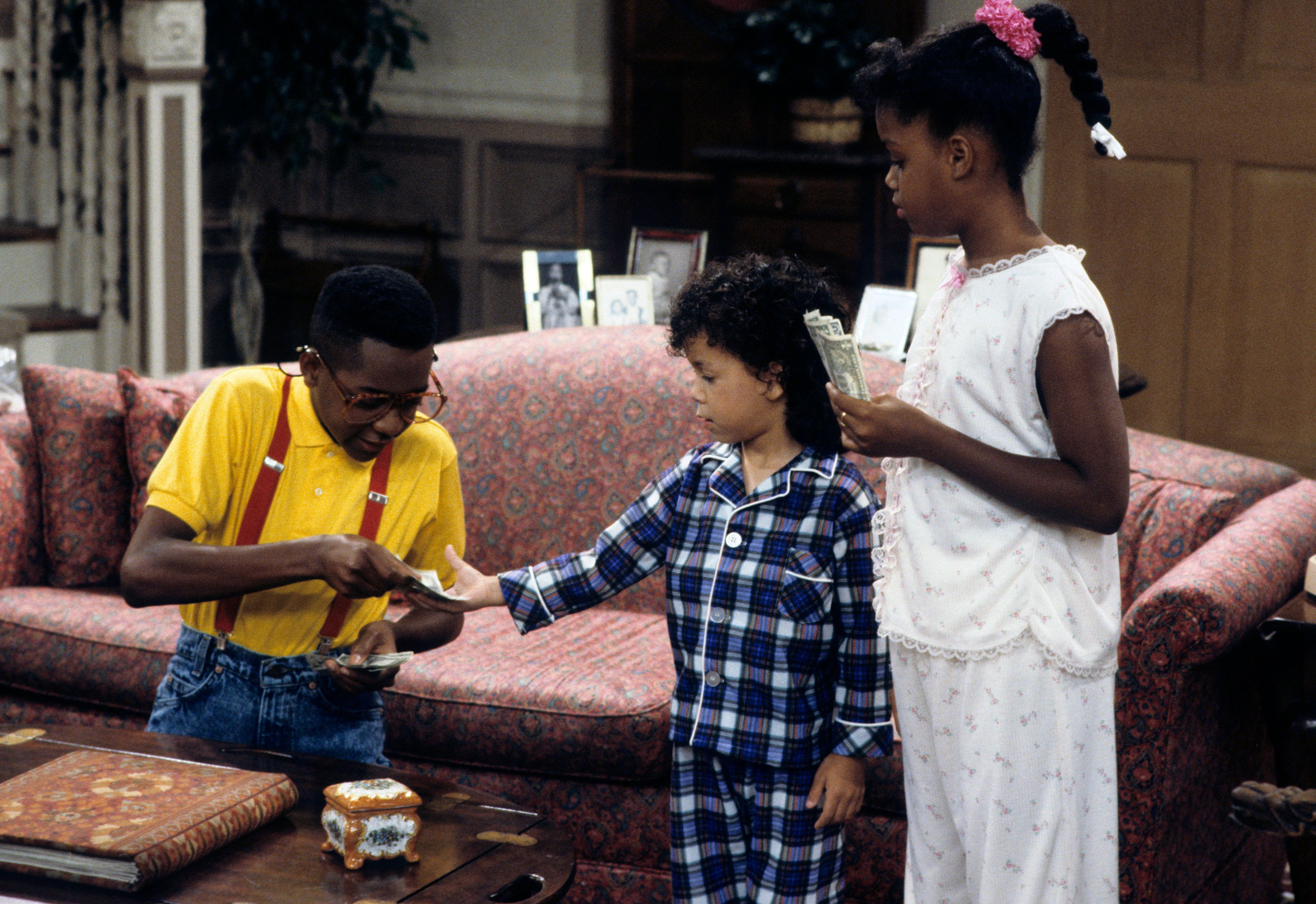 """FAMILY MATTERS - """"Boom"""" - Airdate: September 20, 1991. (Photo by ABC Photo Archives/ABC via Getty Images) JALEEL WHITE;BRYTON JAMES;JAIMEE FOXWORTH"""