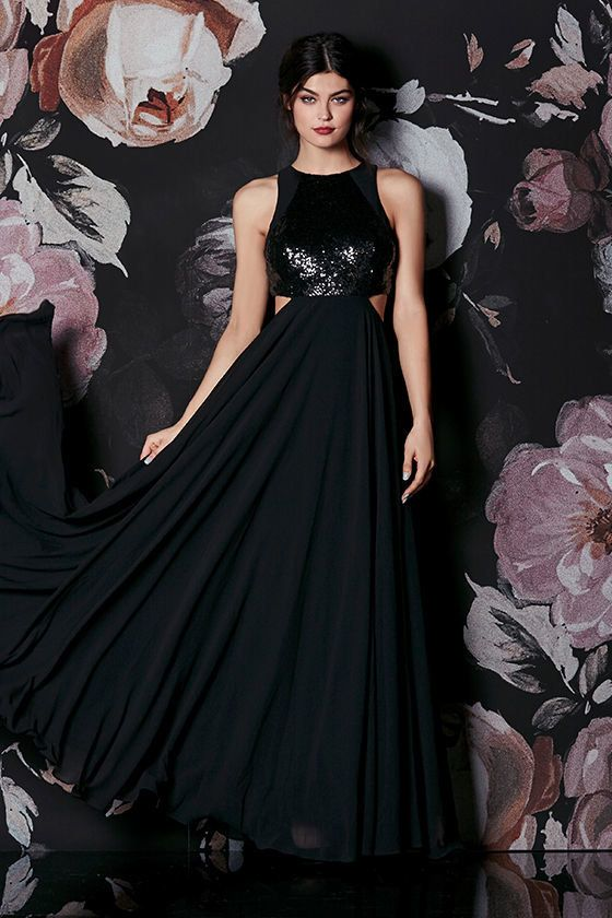"""<a href=""""https://www.lulus.com/products/nothin-but-love-black-sequin-maxi-dress/380022.html"""" target=""""_blank"""">Nothin' But Love"""