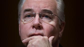 UNITED STATES - JANUARY 24: Rep. Tom Price, R-Ga., nominee for Health and Human Services secretary, testifies at his Senate Finance Committee confirmation hearing in Dirksen Building, January 24, 2017. (Photo By Tom Williams/CQ Roll Call)