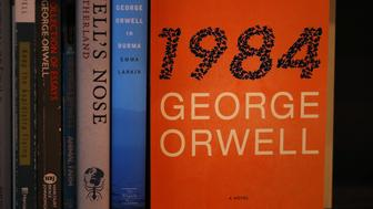 LOS ANGELES, CA - JANUARY 25:  A copy of George Orwell's novel '1984' is displayed at The Last Bookstore on January 25, 2017 in Los Angeles, California. George Orwell's 68 year-old dystopian novel '1984' has surged to the top of Amazon.com's best seller list and its publisher Penguin has put in an order for 75,000 reprints.  (Photo Illustration by Justin Sullivan/Getty Images)