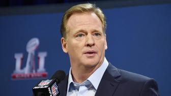 Feb 1, 2017; Houston, TX, USA; NFL commissioner Roger Goodell during a press conference in preparation for Super Bowl LI at George R. Brown Convention Center. Mandatory Credit: Kirby Lee-USA TODAY Sports