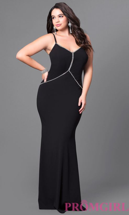 """<a href=""""https://www.promgirl.com/shop/dresses/viewitem-PD1587633"""" target=""""_blank"""">Plus size long prom dress with rhinestone"""