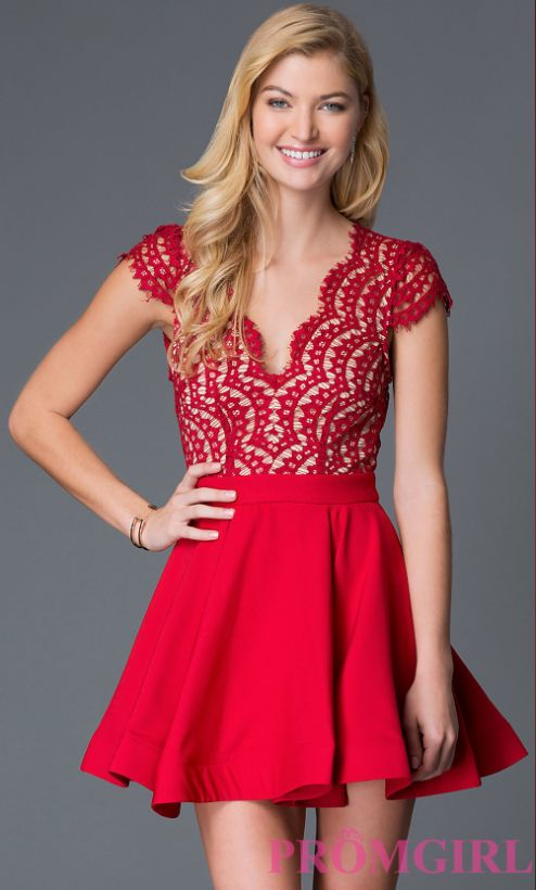 """<a href=""""https://www.promgirl.com/shop/dresses/viewitem-PD1459911"""" target=""""_blank"""">Red open back holiday party dress with lac"""