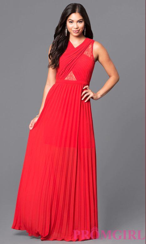 """<a href=""""https://www.promgirl.com/shop/dresses/viewitem-PD1585260"""" target=""""_blank"""">Long v-neck prom dress with pleated skirt<"""