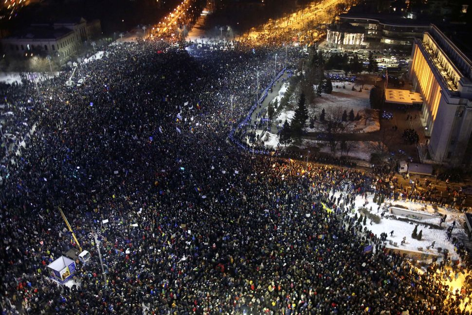 People protest corruption in front of government headquarters in Bucharest, Romania, onFeb. 1, 2017.