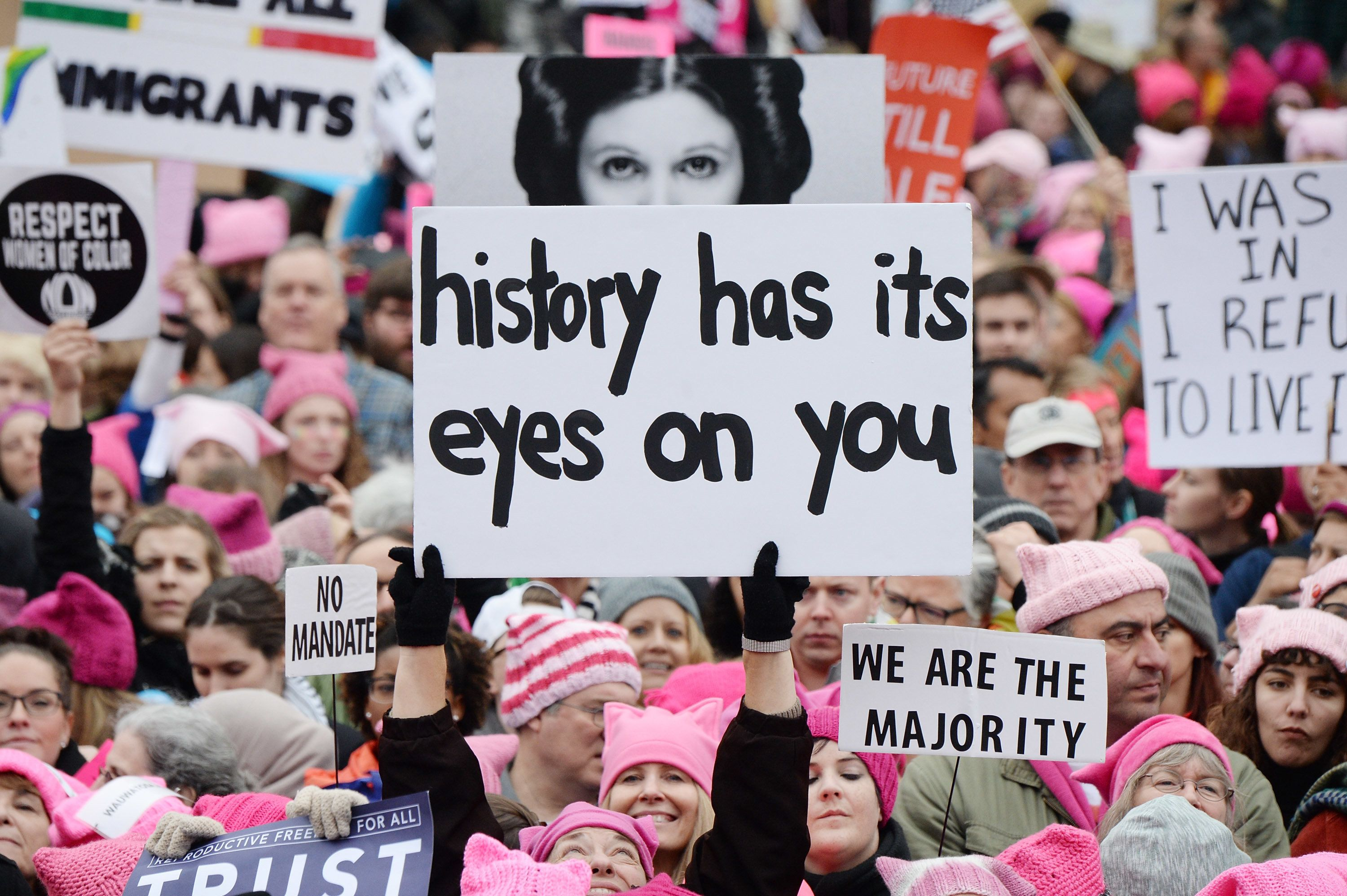 WASHINGTON, DC - JANUARY 21:  Demonstrators attend the rally at the Women's March on Washington on January 21, 2017 in Washington, DC.  (Photo by Kevin Mazur/WireImage)
