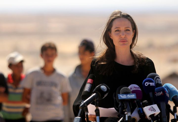 US actress and UNHCR special envoy and Goodwill Ambassador Angelina Jolie speaks during a press conference at Al-Azraq camp f