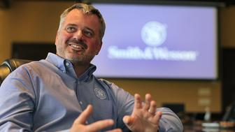 SPRINGFIELD, MA - APRIL 18: Globe 100 Top Companies - Smith & Wesson. CEO James Debney. (Photo by Suzanne Kreiter/The Boston Globe via Getty Images)
