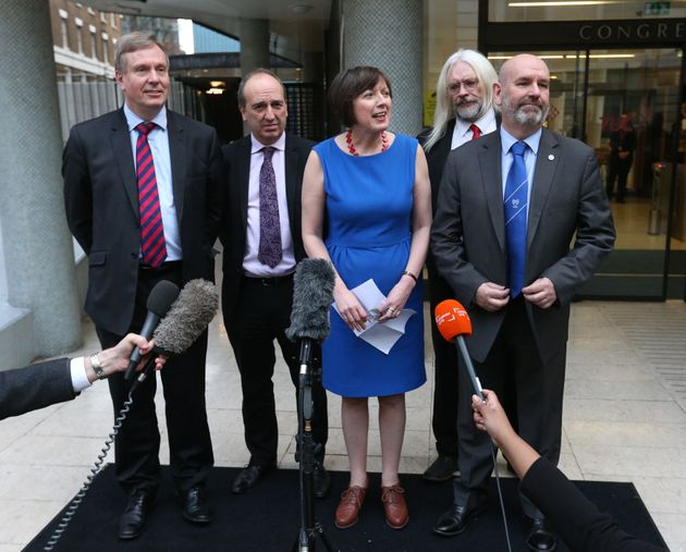 Frances O'Grady, General Secretary of the TUC, with union bosses as the outcome of talks between Aslef and...