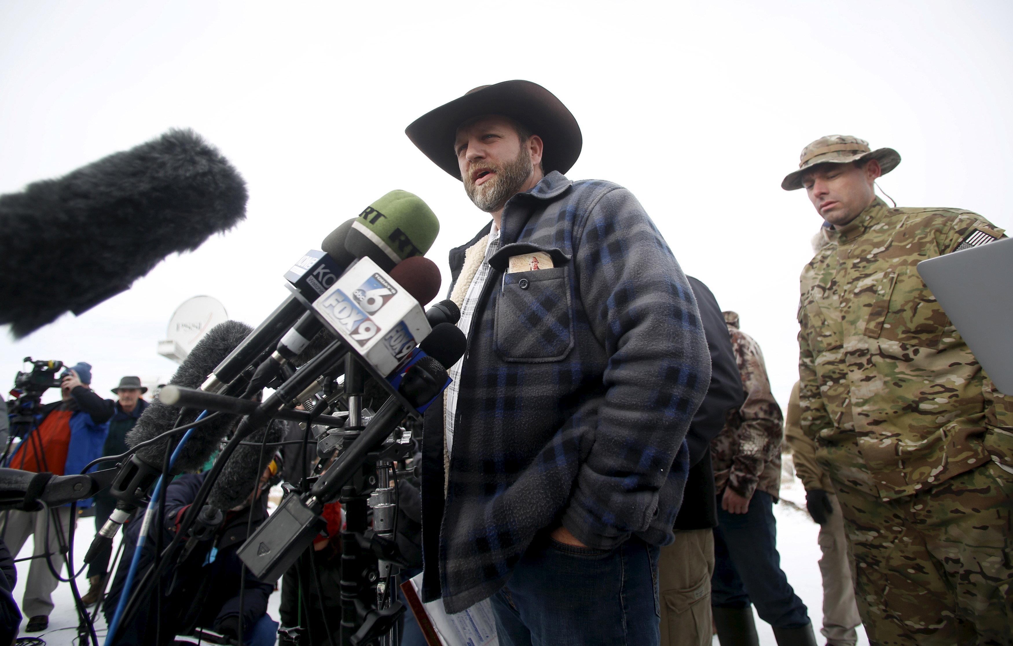 Ammon Bundy addresses the media at the Malheur National Wildlife Refuge near Burns, Oregon, January 4, 2016.