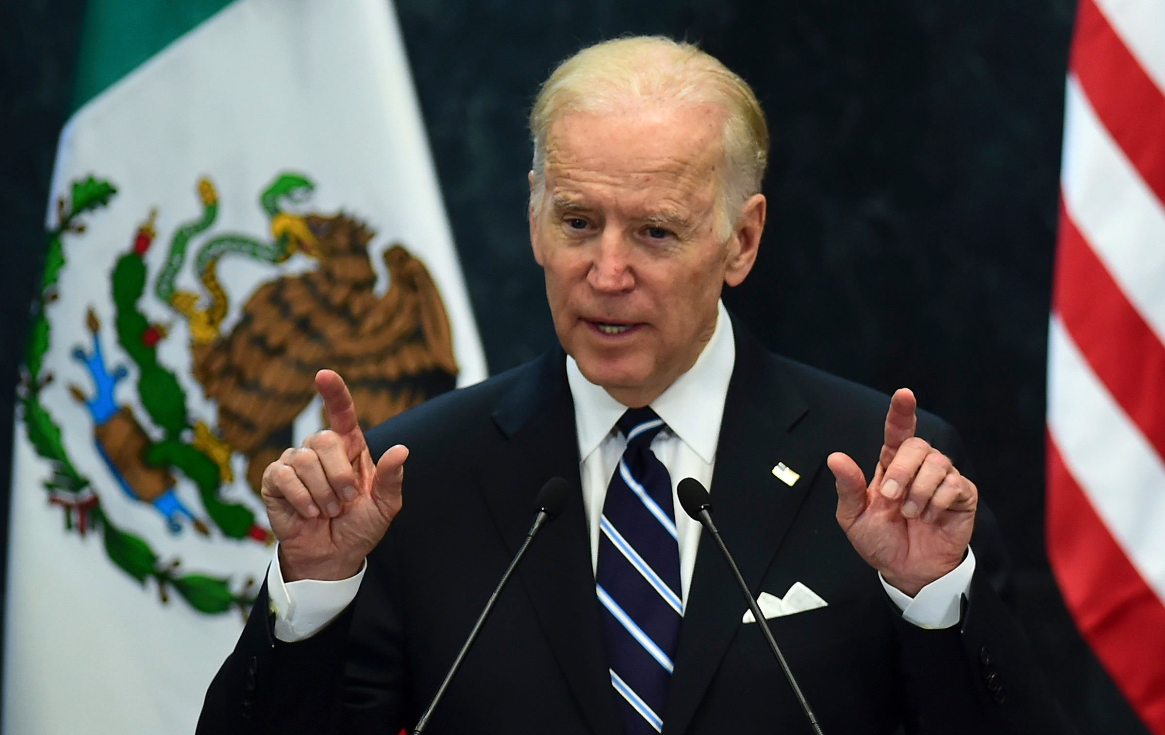 Vice President Joe Biden addresses the press at Los Pinos presidential residence in Mexico City on Feb. 25, 2016.