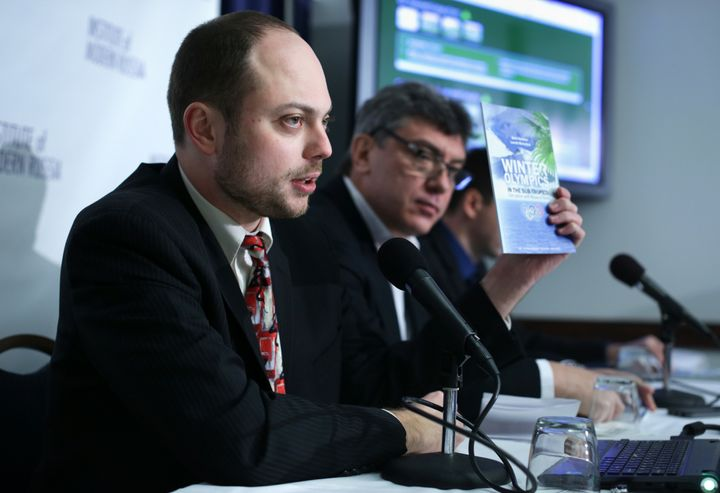 Vladimir Kara-Murza, 35, left, had been active and healthy recently, his wife said.