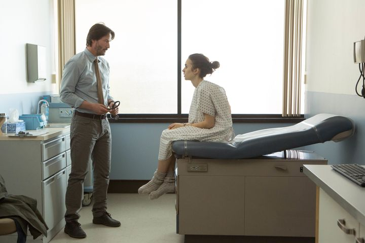 "Keanu Reeves and Lily Collins star in a scene from Marti Noxon's ""To the Bone."""