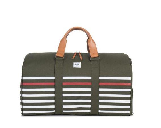 "<a href=""http://shop.herschelsupply.com/collections/duffles/products/novel-duffle-forest-night-offset-stripe-veggie-tan-leath"