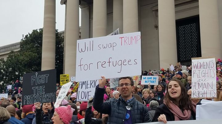 One of the many signs in support of refugees at the Women's March in Washington, DC on January 21st.