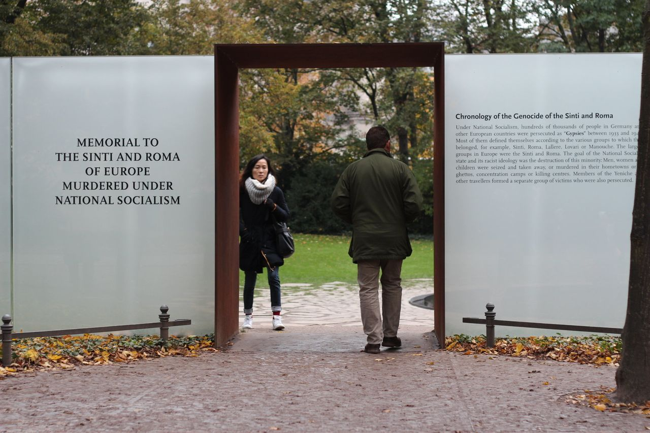 Visitors pass through the Roma memorial in Berlin, Germany.<br>