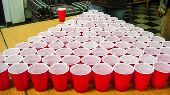 Massive college beer pong game