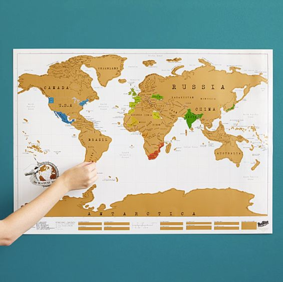 """<a href=""""http://www.uncommongoods.com/product/scratch-map"""" target=""""_blank"""">Scratch-off-where-you've-been map</a>, $26 at <a h"""