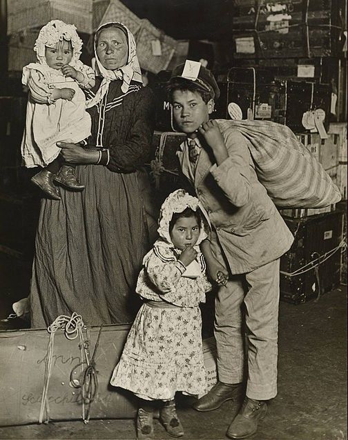 Immigrant Family in the Baggage Room of Ellis Island, 1905
