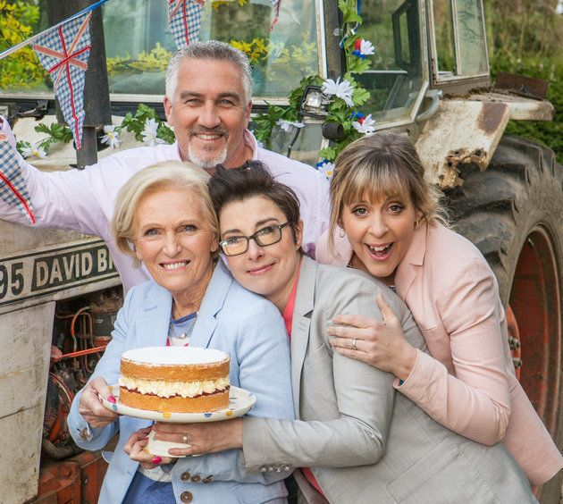 The pair with former Bake Off co-stars Mary Berry and Mel