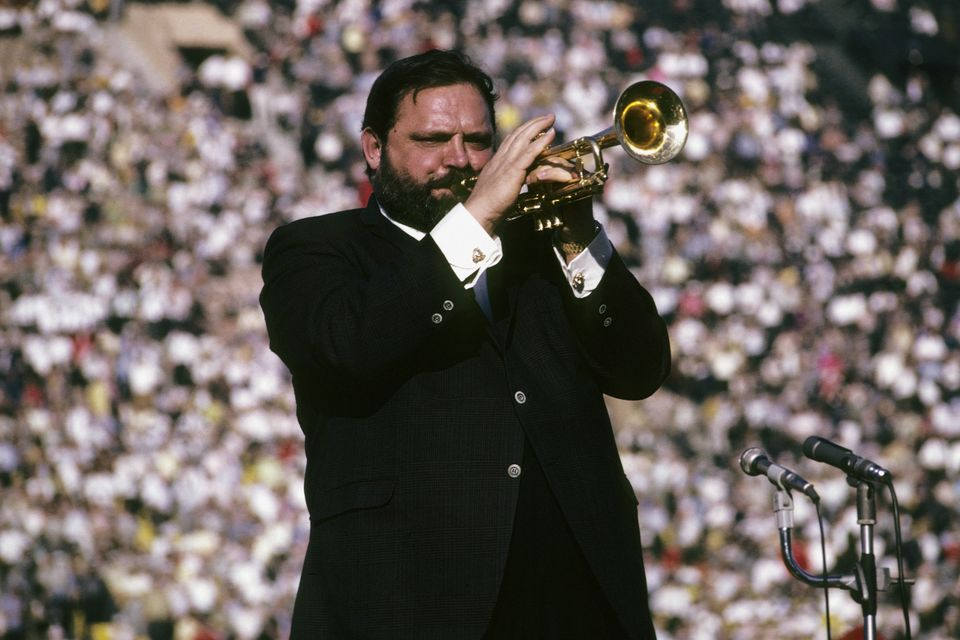 Jazz trumpeter Al Hirt plays the national anthem prior to the start of Super Bowl I on January 15, 1967 between the Kansas Ci