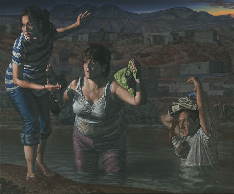 "<em>La Guia (""The Guide""),</em> an oil on linen piece by Rigoberto A. Gonzalez,  on display as part of <em>The Outwin 2016: A"
