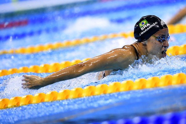 Joanna Maranhao of Brazil competing in the Women's 400m Individual Medley heat during the 2016 Olympic Games in Rio de Janeir