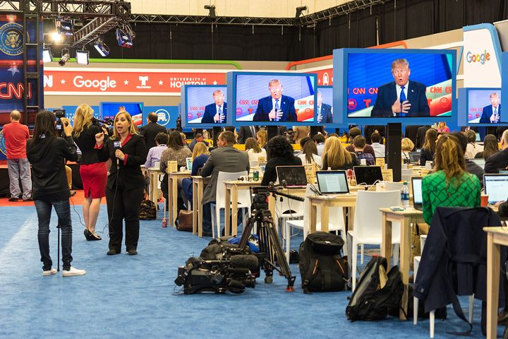 <strong>HOUSTON - FEBRUARY 25, 2016: Members of the media watch the RNC debate.</strong>