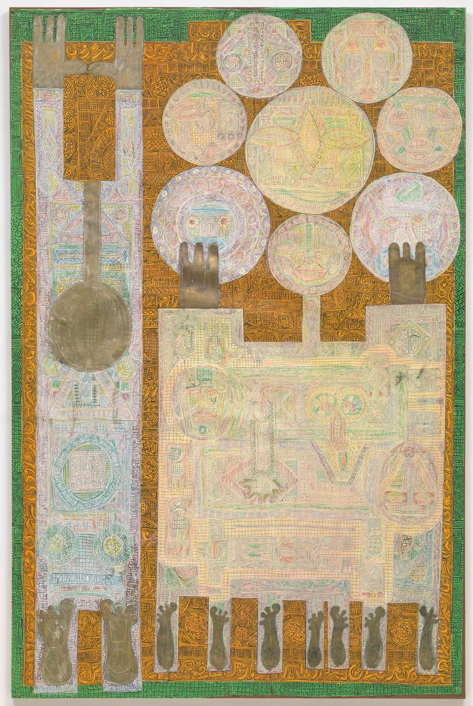 "Charles Hossein Zenderoudi (Iranian, born 1937), ""K+L+32+H+4. Mon père et moi (My Father and I),"" 1962, felt-tip pen a"