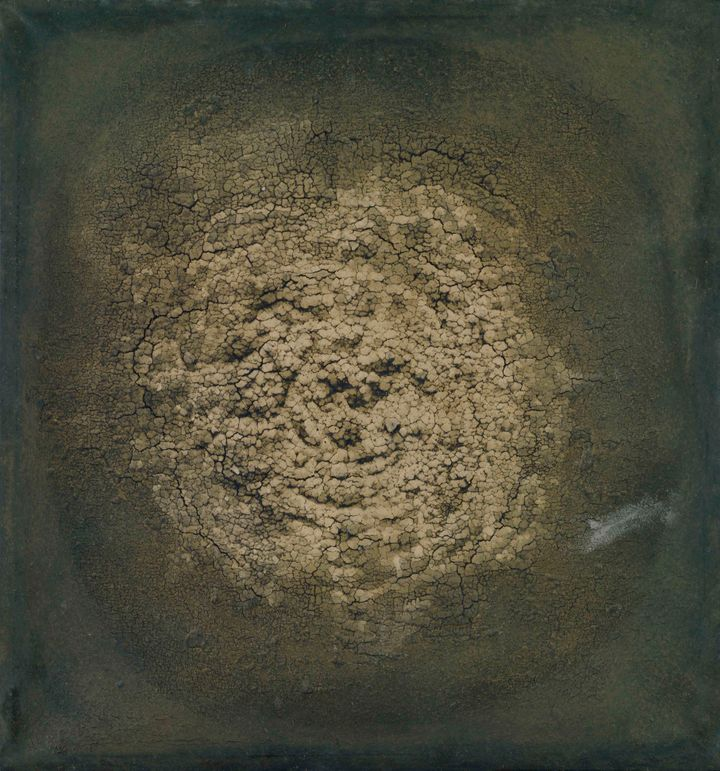 "Marcos Grigorian (Iranian (naturalized American), born Russia. 1924–2007), ""Untitled,"" 1963, dried earth on canvas, 33"