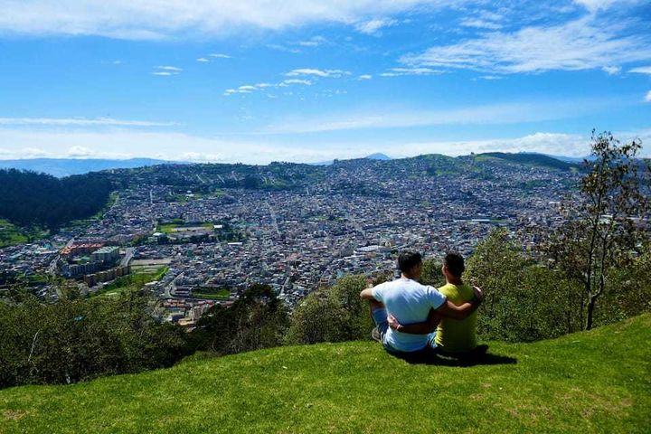 Sharing a romantic moment in Quito