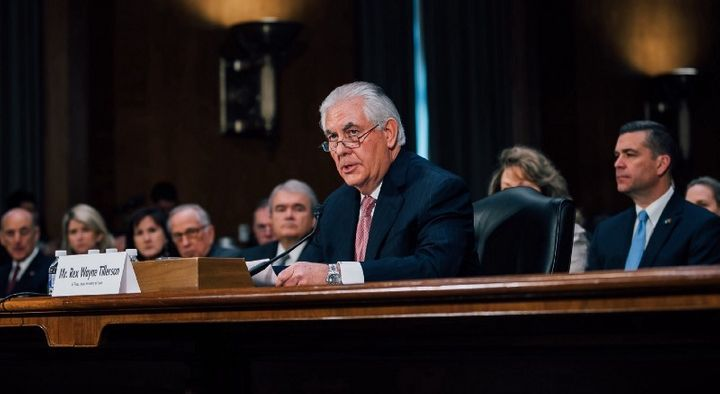 Rex Tillerson at his confirmation hearing for Secretary of State