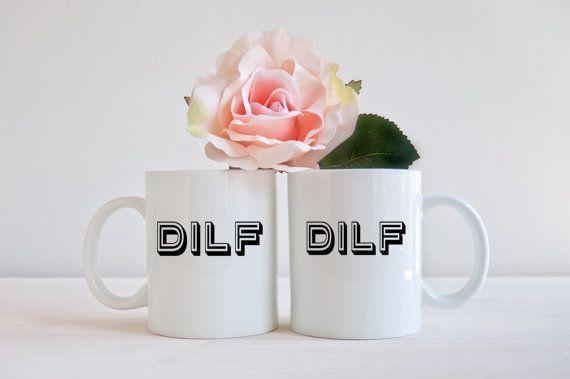 """<a href=""""https://www.etsy.com/listing/218578261/funny-couples-coffee-mug-milf-dilf?ref=market"""" target=""""_blank"""">DILF mug</a>,"""
