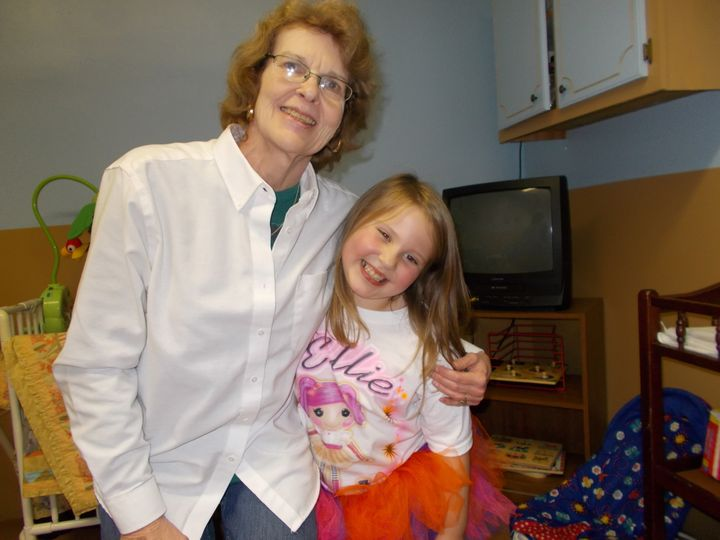 "Ellie and Granny, pictured here on Ellie's eighth birthday, are ""great friends."""