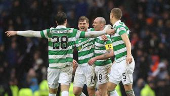 GLASGOW, SCOTLAND - DECEMBER 31:  Celtic players celebrate at full time during the Rangers v Celtic Ladbrokes Scottish Premiership match at Ibrox Stadium on December 31, 2016 in Glasgow, Scotland. (Photo by Ian MacNicol/Getty Images)