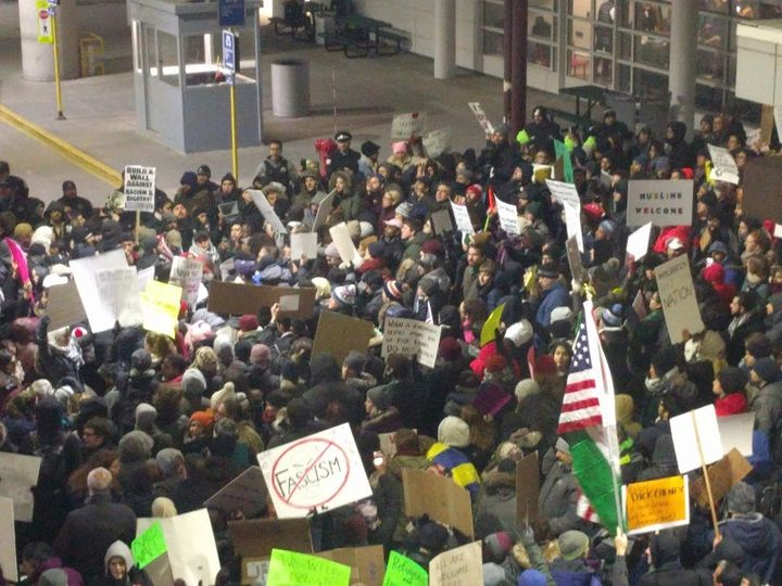 Chicago's O'Hare International Airport, Gate 5, day 2 of #NoBanNoWall protests.